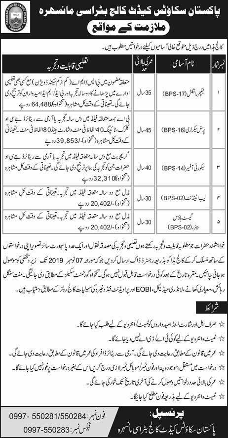 Pakistan Scott Cadet College Bitrasi Mansehra Jobs