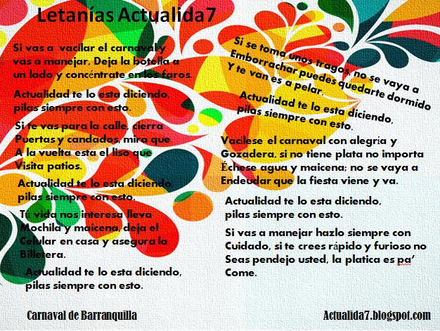 En víspera de carnaval, La Actualida7 esta presente porque nos importa su seguridad y la de toda mi gente.