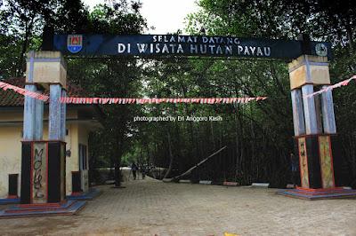 Gerbang selamat datang di Hutan Wisata Payau Tritih Cilacap.