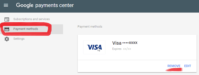 remove card google payment