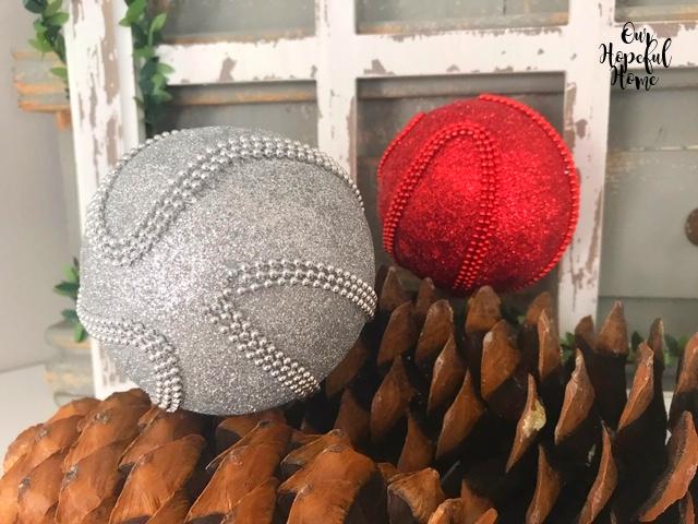 textured silver glitter ball red glitter ball ornament