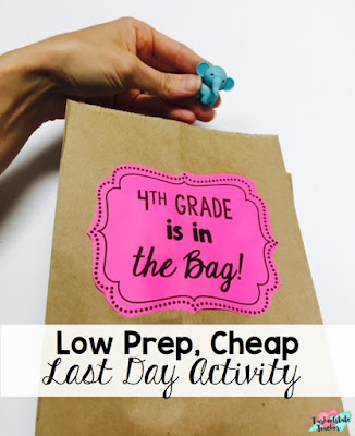 "Fun, easy, cheap end of year activity to do on the last day of school! Perfect for all grade levels. Includes optional writing component! The basic idea of my ""This Year is in the Bag!"" activity is for students to represent something they will remember about 4th grade and to create an easy, meaningful culminating activity for the school year. Don't have time for memory books? Make a memory bag!"