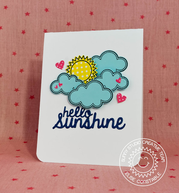 Sunny Studio: Hello Sunshine card by Elise Constable (using Rain or Shine, Stitched Hearts & Sunny Sentiments stamps and Sunshine word die)