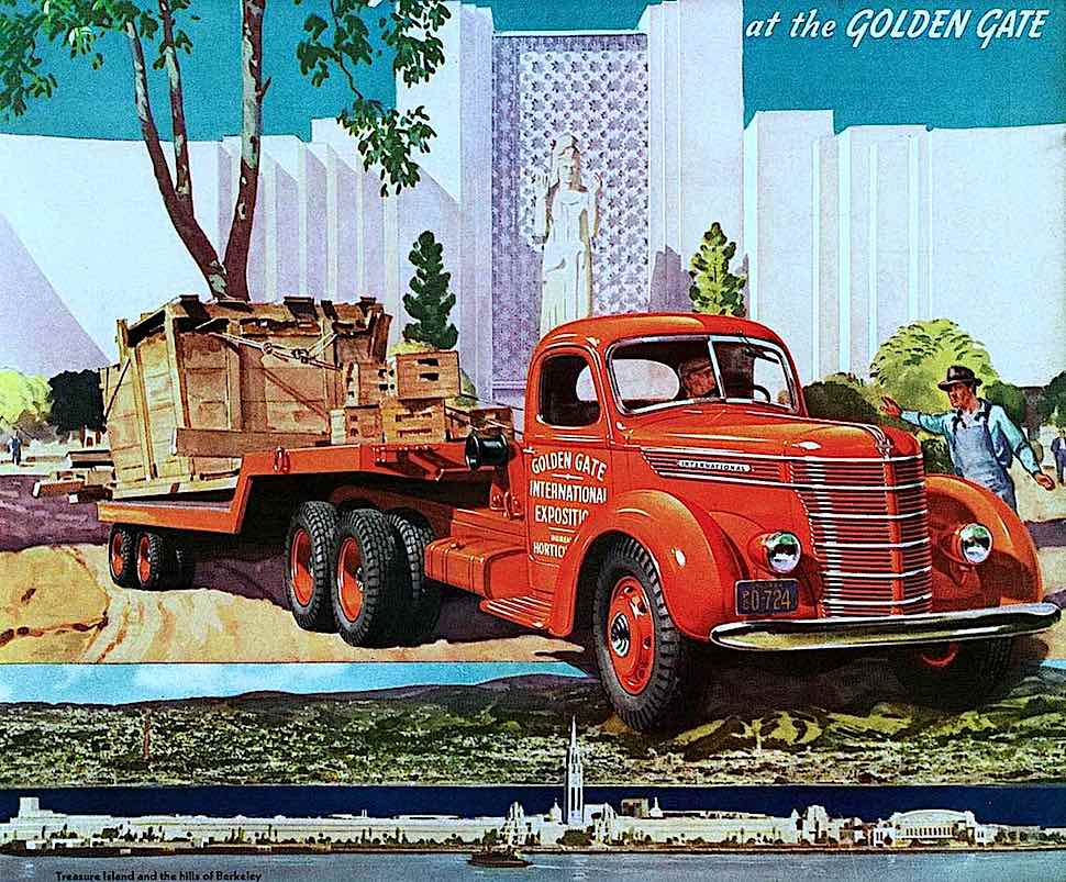 1939 tree relocation by an International Truck, color illustration