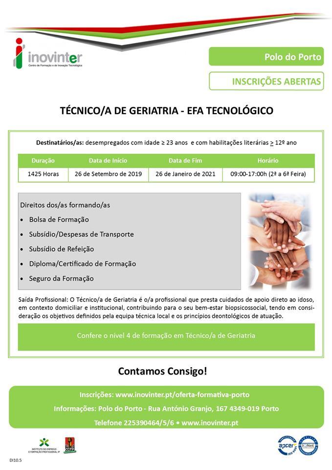 Curso EFA de Técnico(a) de Geriatria no Porto (para desempregados)