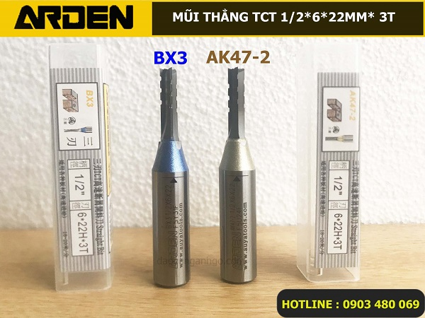 Mũi Router thẳng ARDEN 1/2*6*22mm BX3 và AK47-2