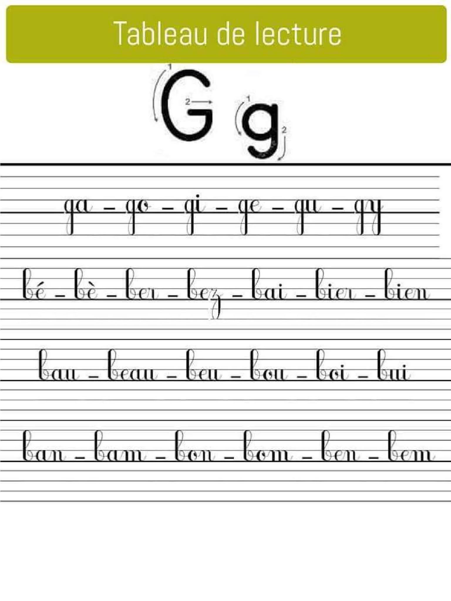 Tableu de Lecture Cursive /g/