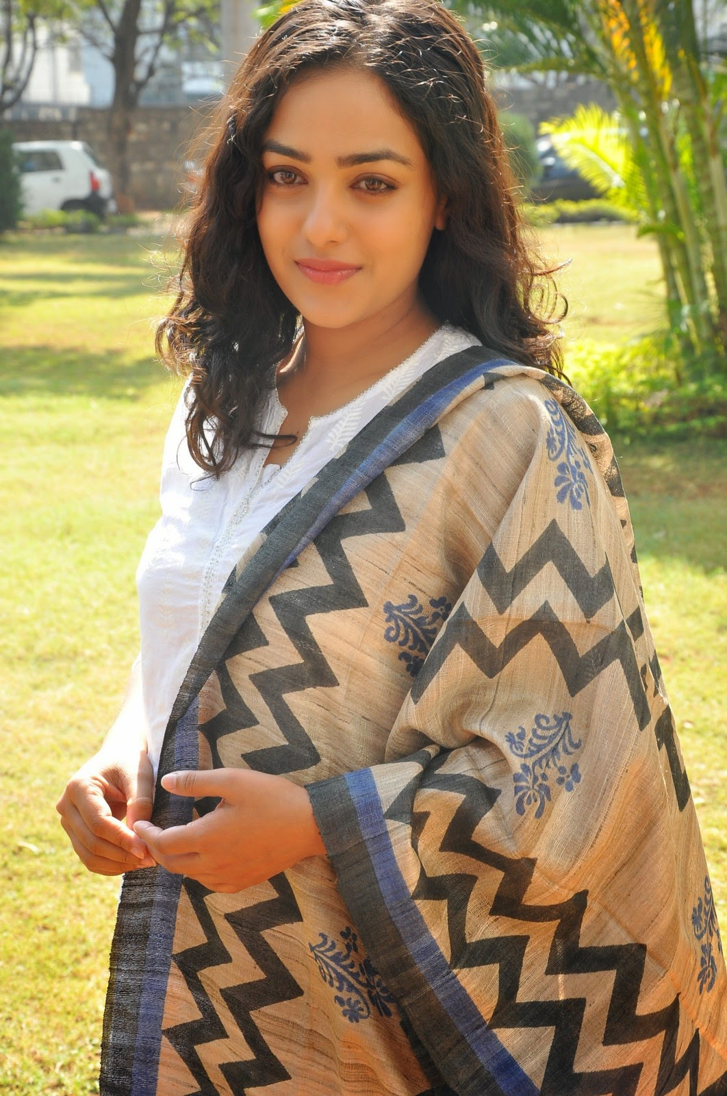 Nithya Menon Photos In White Salwar Kameez