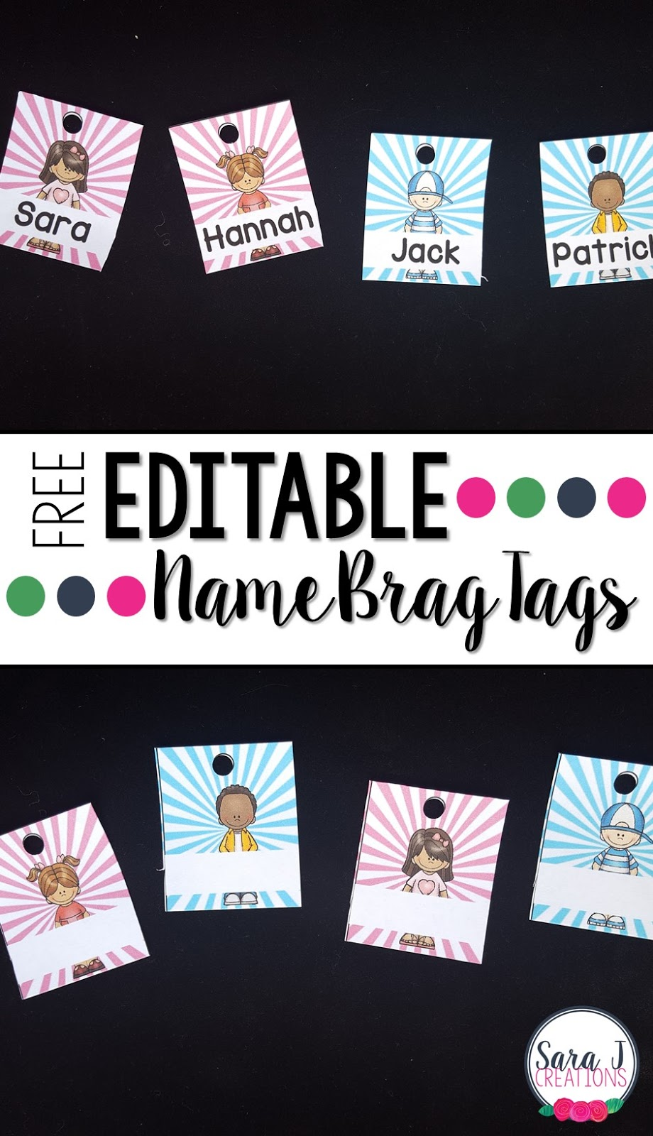 Such a cute way to start the year in your classroom with brag tags. This freebie includes editable brag tags in 12 different styles to be used as a nametag for the first tag on your students' necklaces.