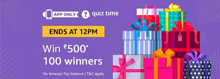 Amazon Pay Quiz Time win Rs 500 (24th November)