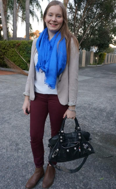 cream blazer, burgundy pants, ankle boots and cobalt Louis Vuitton monogram shawl winter office outfit | awayfromblue