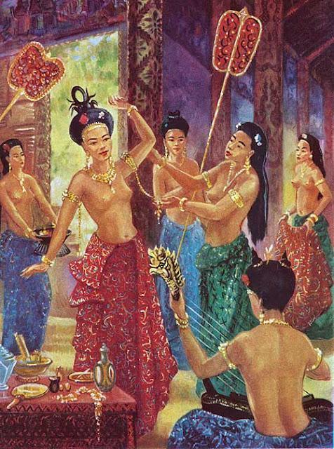 A l'époque, en dehors des cérémonies, les femmes ne sont que  très peu vêtues et portent fréquemment le chignon