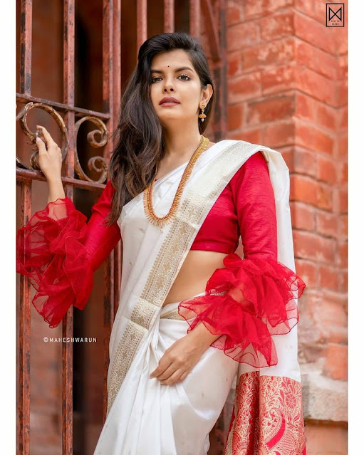 Traditional Bengali Lal Par Sada Saree and Blouse Ideas for Dashami l 7 Best Ideas