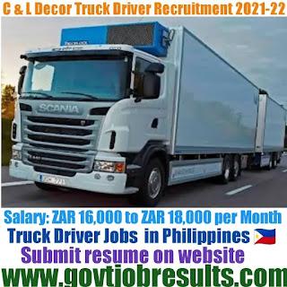 C and L Decor Truck Driver Recruitment 2021-22