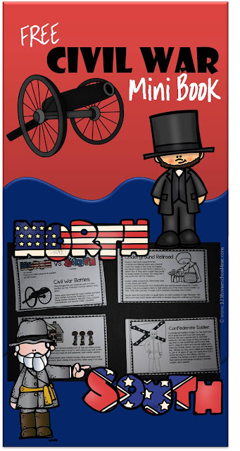 FREE Civil War Mini Book - These super cute and informative books will help kids learn about why the Civil War happened, slavery, Harriet Tubman, Underground Railroad, Civil War battles, People of the Civil War, life as a Confederate Soldier, life as a Union Soldier, and more. Perfect for homeschool, history for kids, 3rd grade, 4th grade, 5th grade, 6th grade, 7th grade, and 8th grade.