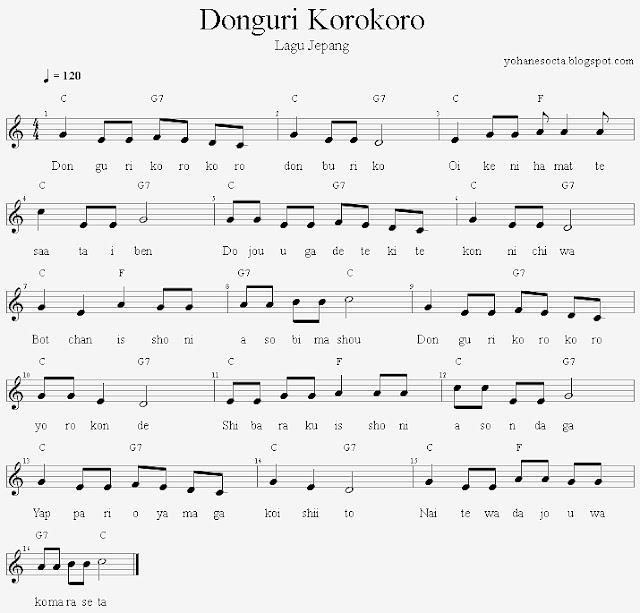Partitur Lagu Jepang Donguri Korokoro