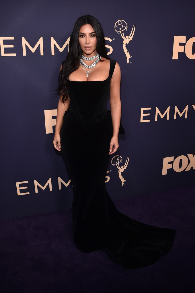 Kim Kardashian Wore a Skintight Black Gown to the 2019 Emmys