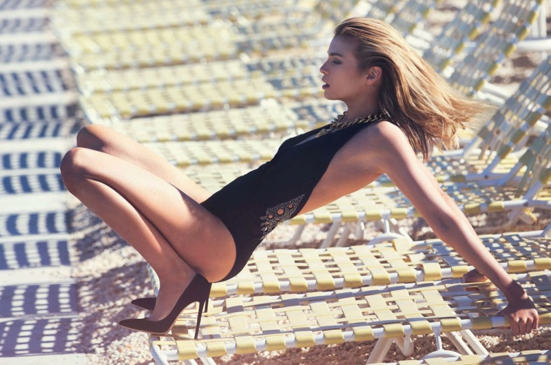 Stella Maxwell strips to swimwear for Marie Claire Italy June/July 2015