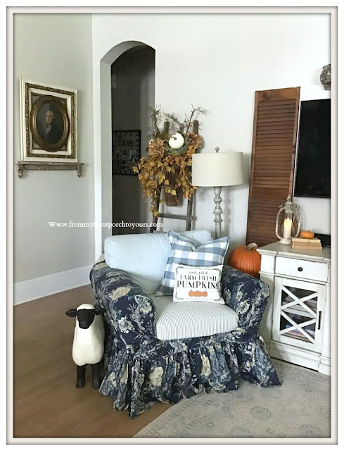 French -Country- Farmhouse-Living- Room -Fall -Decor-Blue & White-Pumpkins-Ballad Bouquet-Slipcover--From My Front Porch To Yours