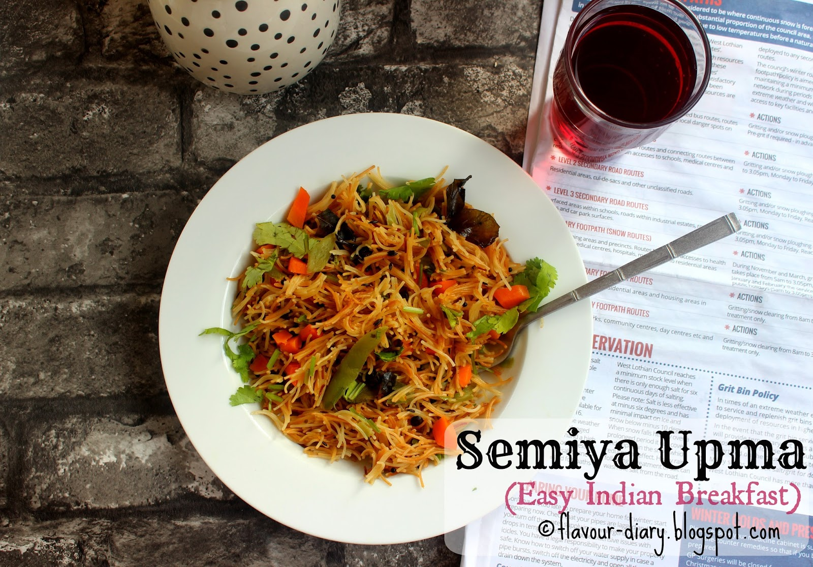 Semiya Vermicelli Upma Recipe