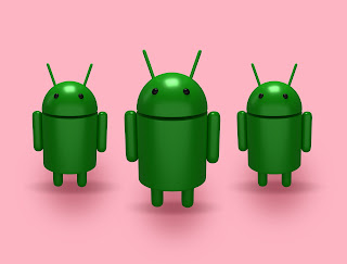 On the Android logo's basis, three androids appear before the player
