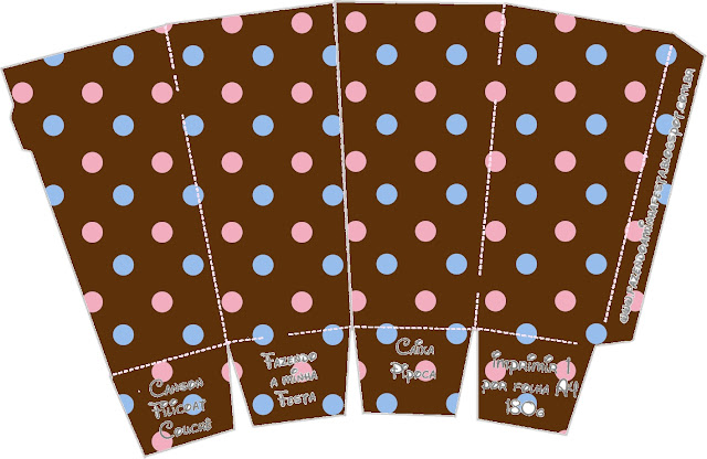 Pink and Light Blue Polka Dots in Chocolate Free Printable Pop Corn Box.