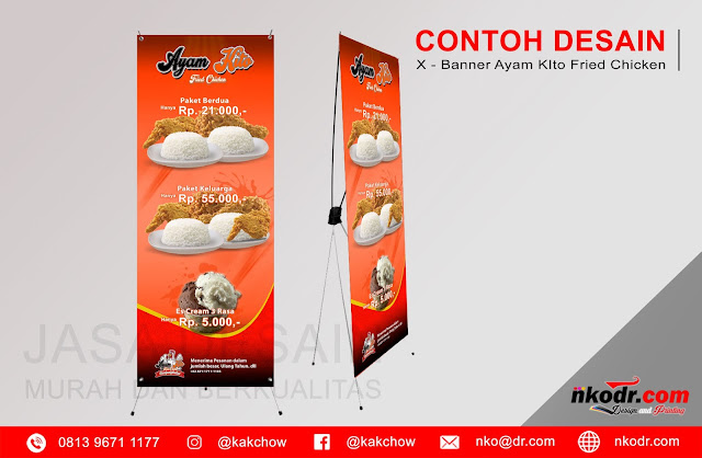 Contoh Desain Standing Banner Ayam Fried Chicken