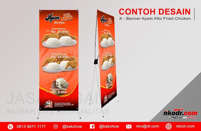 Contoh Desain Standing Banner Ayam Kito Fried Chicken | Desain Buku Menu Murah Berkualitas