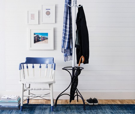 Ombre Decor Dip Dye Chair Home Decor Hallway with White Walls Wooden Floors and Blue Rug White Wall Gallery Umbrella and Coat Rack