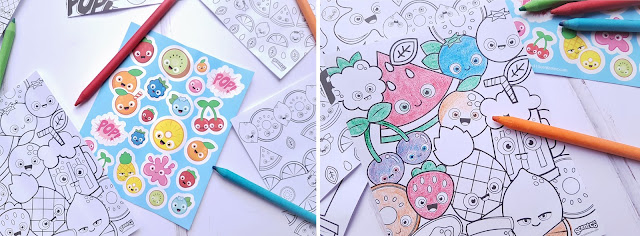 Scentco Scented Activity Kit close up on sticker sheet, and one colouring sheet coloured