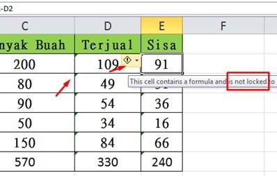 Lock Cell di Excel
