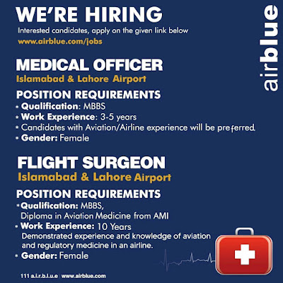 AirBlue Jobs 2020 For Medical Officer & Flight Surgeon Latest