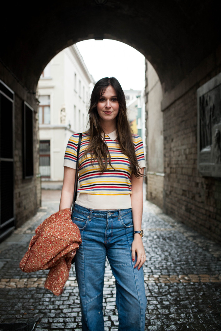 Outfit: rainbow striped polo, cropped denim