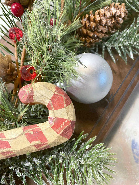 Holiday ornaments on a wreath