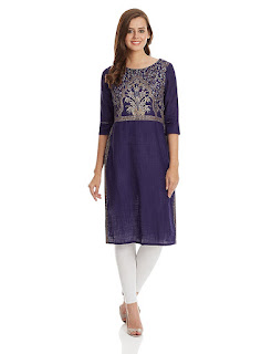 Rs. 883 Aurelia Three Qarter Sleeve Round Neck Cotton Blue Kurta from fashiondiya