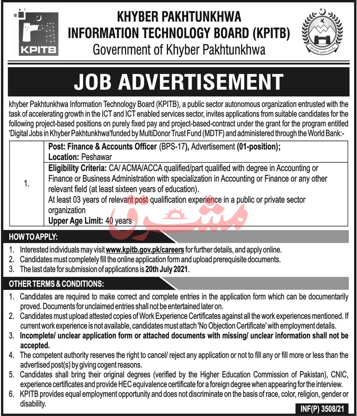 www.kpitb.gov.pk Jobs 2021 - Khyber Pakhtunkhwa Information Technology Board (KPITB) Jobs 2021 in Pakistan