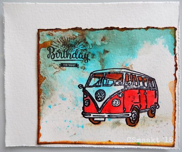 Cs Maakt Made By Cs Vw Busje Verjaardagskaart