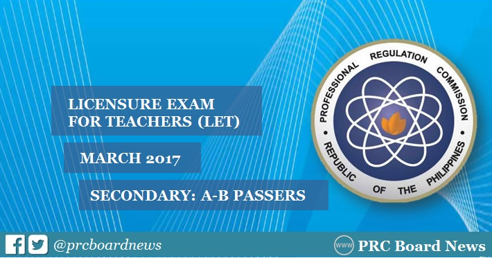 A-B Passers Alphabetical List: March 2017 LET Secondary