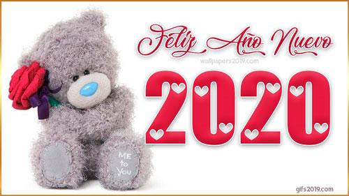 peluche con flor feliz año nuevo 2020
