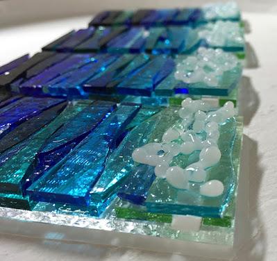 How to make fused glass Ocean Sea Waves Beach Water painting scrap art Sharon Warren Glass flutterbybutterfly sharonwarrenglass