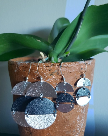 Handmade sterling silver and leather dangling geometric earrings in two different sizes