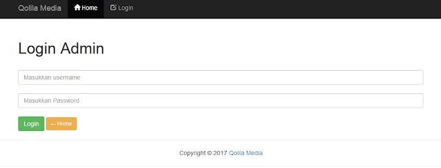 halaman login aplikasi