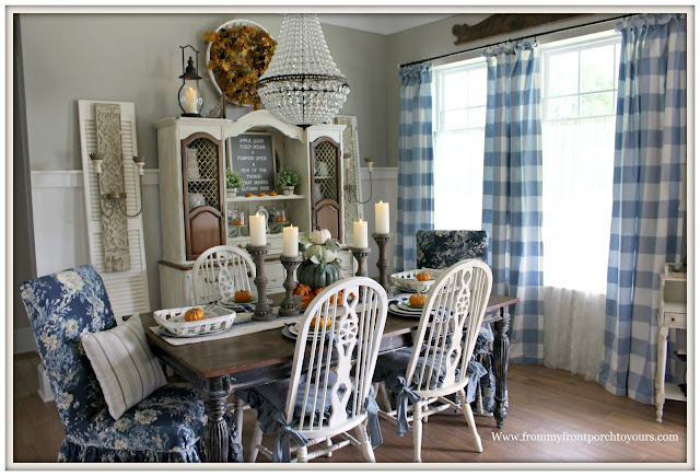 Fall Dining Room-French Country-Blue and White-Waverley Ballad Bouquet-Buffalo Check-Fiddleback Chairs-Vinateg Hutch-DIY-French Farmhouse Sconces-Mia Pottery Barn Chandelier-From My Front Porch To Yours