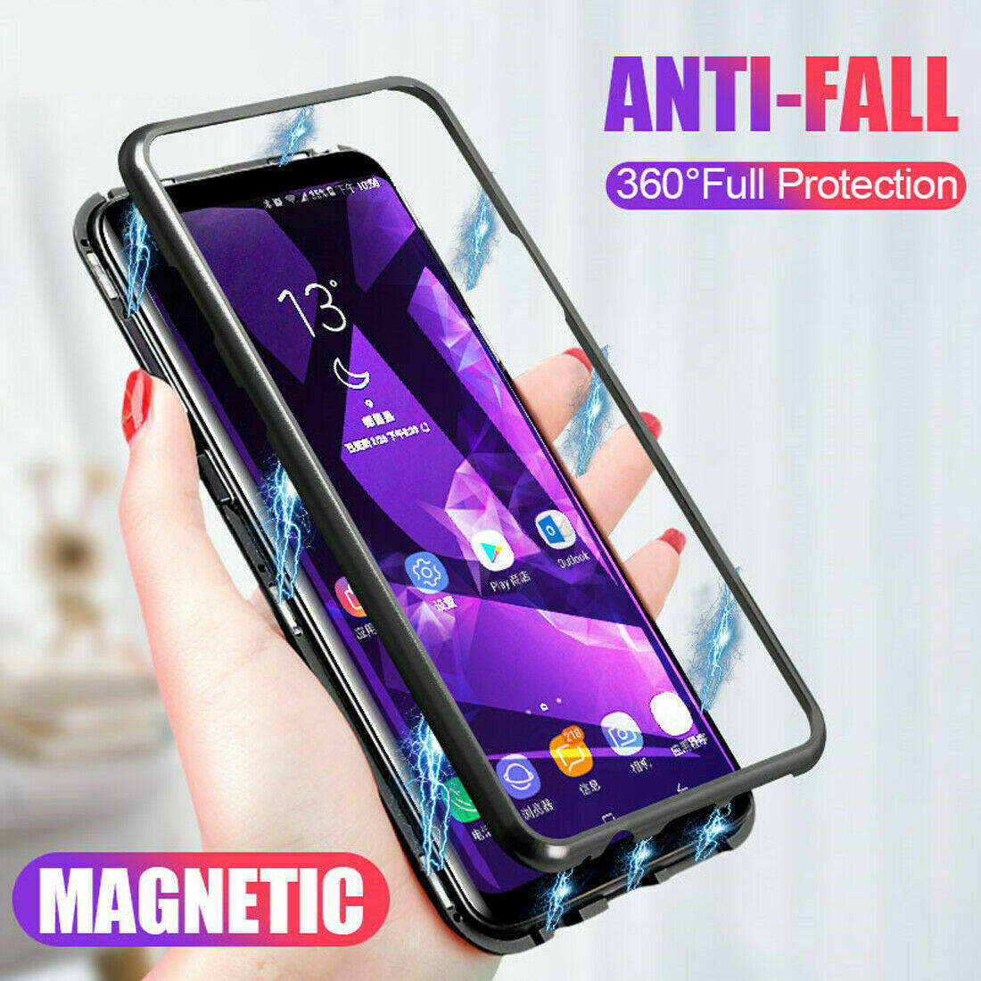 ce477a3ab9 Bakeey 360° Magnetic Adsorption Metal Tempered Glass Flip Protective Case  for Huawei Mate 20 Lite
