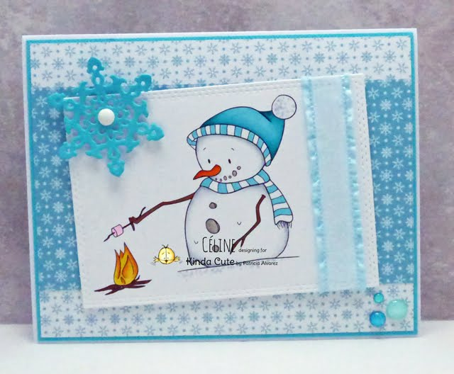 blue winter card with snowman and marshmallow digital stamp