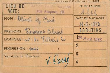 Intérieur d'une carte d'électrice 1945