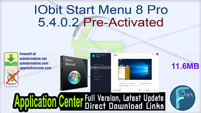 IObit Start Menu 8 Pro 5.4.0.2 Pre-Activated