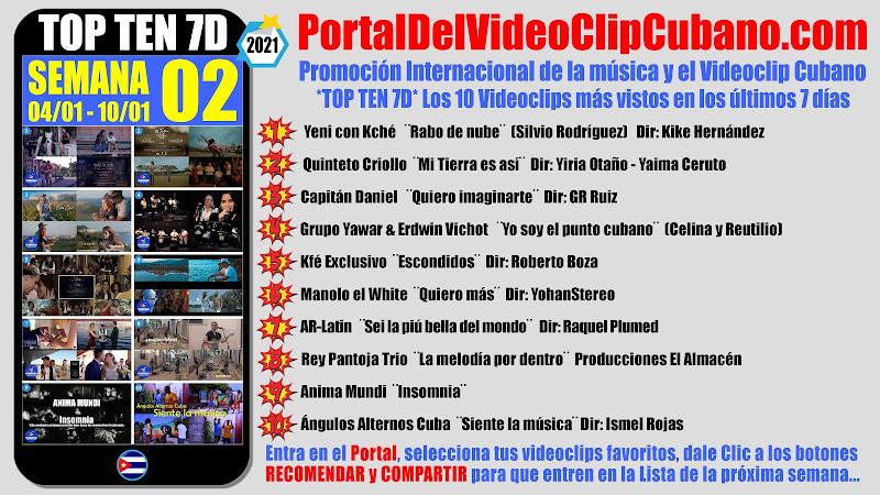 Artistas ganadores del * TOP TEN 7D * con los 10 Videoclips más vistos en la semana 02 (04/01 a 10/01 de 2021) en el Portal Del Vídeo Clip Cubano
