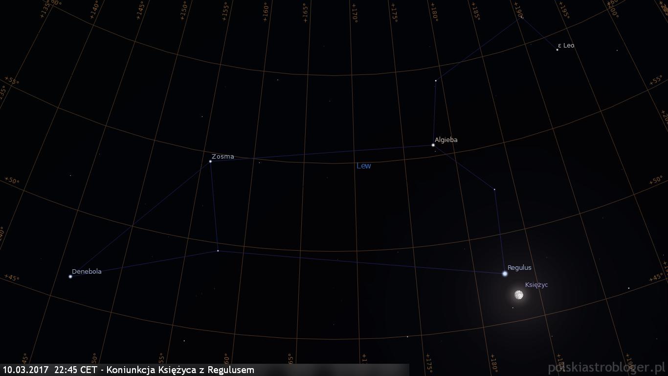 10.03.2017  22:45 CET - Koniunkcja Księżyca z Regulusem - widok w powiększeniu