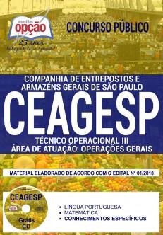 Apostila pdf CEAGESP 2018 Técnico Operacional III